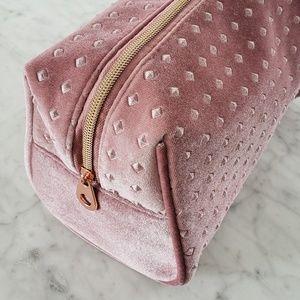 Large Studded Velvet Makeup Cosmetic Bag - Pink
